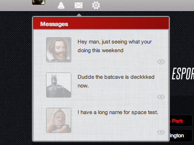 Messages popup ui interface design esports
