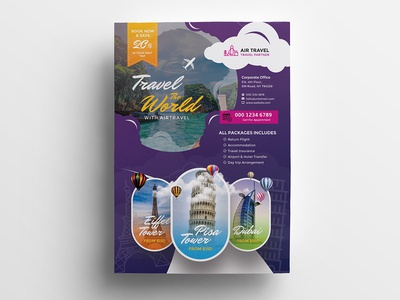 Travel Holiday Flyer hotel holiday flyer holiday flyer flight company business booking beach agency advertisement