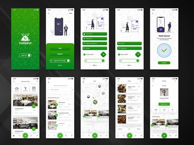Food Fly - Food Store iOS UI App Kit material foodpanda food delivery flat ui mobile flat chat app ecommerce design delivery ui kit application android app android