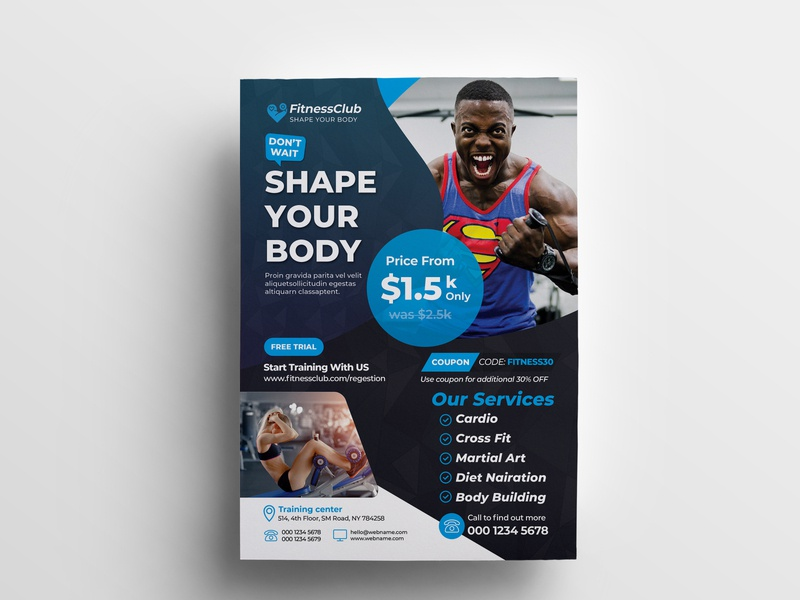 Gym Fitness Flyer professional pamphlet martial arts marketing leaflet health flyer health handout gym flyer gym flyer fitness dance flyer dance club business box body building advertisement advert