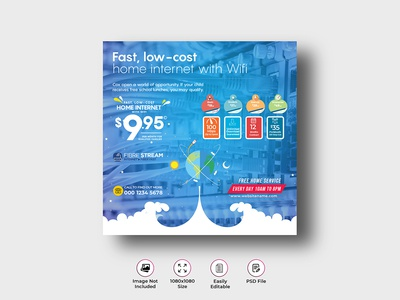 Internet Broadband Promotion Banner Template flyer fibre fiber dsl deal brochure broadband bifold bi-fold banner ads ad