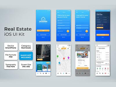 Real Estate iOS App UI Kit ios home golden figma elements dark customizable clean buy booking blue apartement