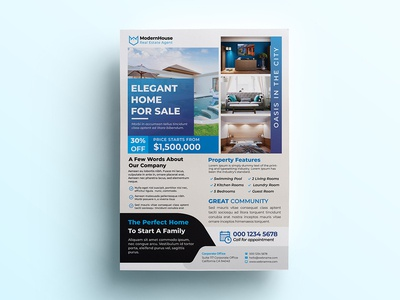 Real Estate Flyer Template loan lease leaflet house home flyer commercial broker agent agency advertising advertisement