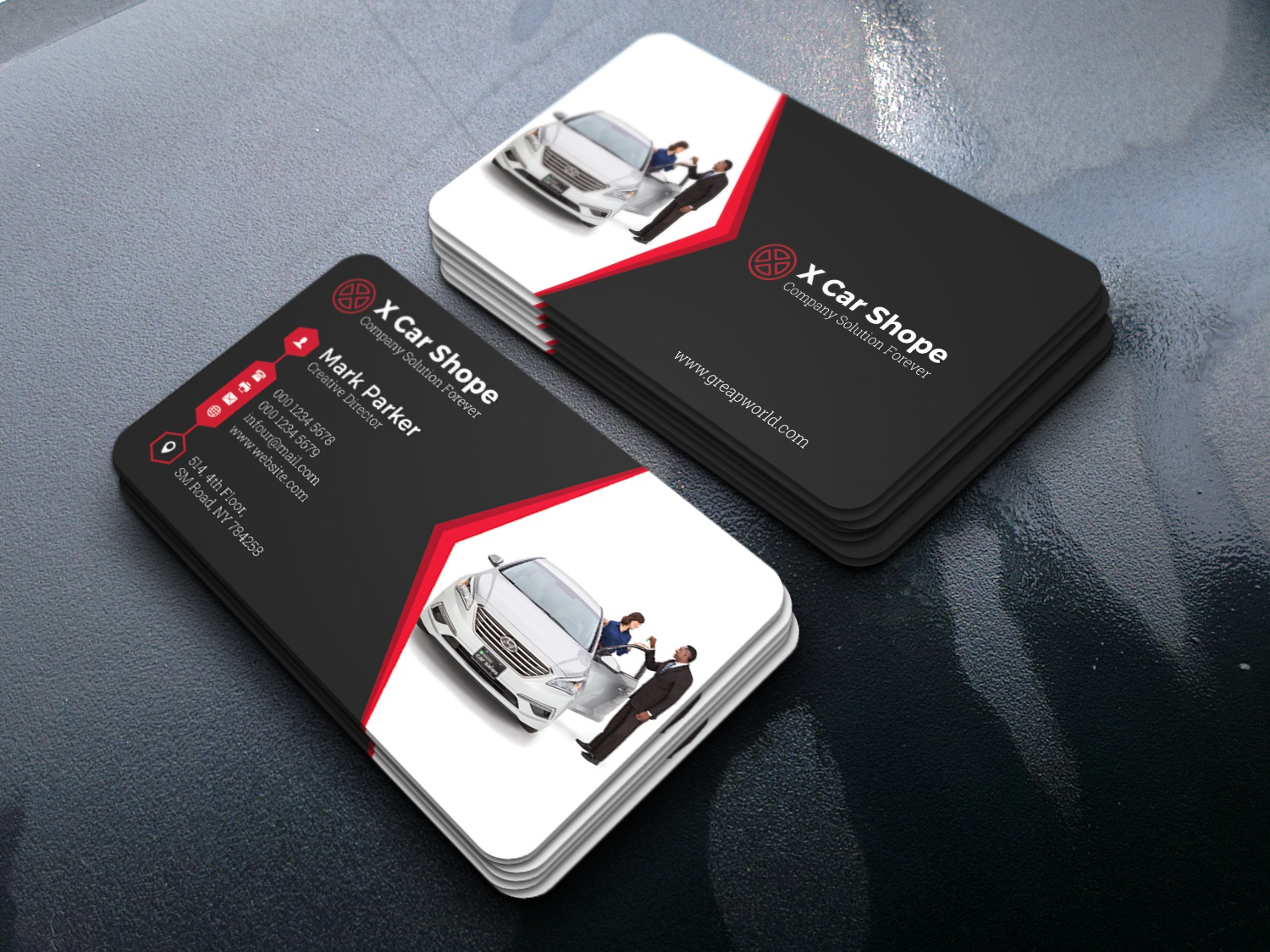 Rent a car business card by ajoy kumer dribbble this is a rent a car business card this template download contains 300 dpi print ready cmyk psd files all main elements are editable and customizable reheart Gallery