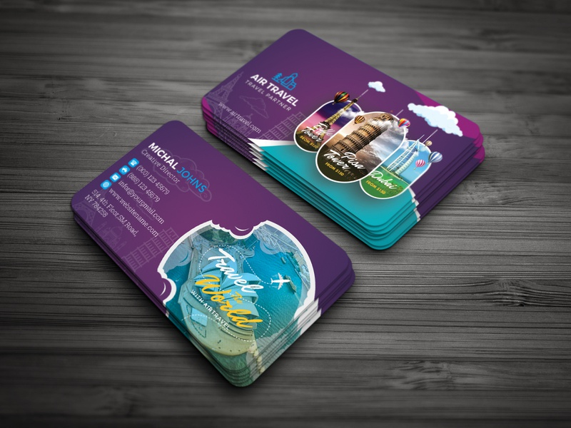 Travel Agency Business Card nature mountain landmark journey holiday going get around europe dotnpix dot dilly-dally city cards card business cards business card blue beauty beach agency