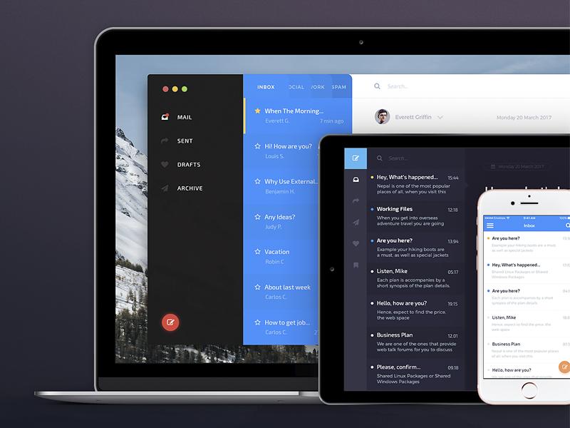 ✉️ Mail App UI Kit — Envelope / Free Sample PSD & Sketch