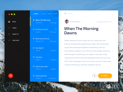 Mac Os Mail App — Envelope UI Kit for Sketch and Photoshop client app mail psd ui kit ipad ios mac os