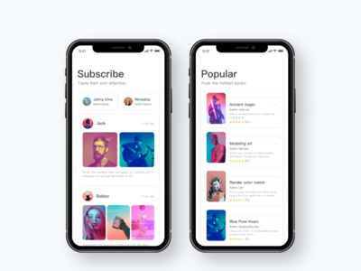 Read the application listen read page iphonex card