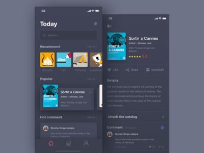 Daily exercise 8/100 days-Read app design black,iphonex hot popular bookshelf share like iphonex card read