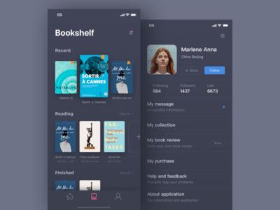 Daily exercise 9/100 days-Read app design black read card iphonex like share bookshelf popular hot