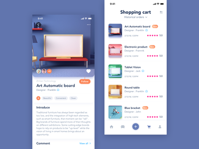 Customized Furniture Shopping App card furniture fillet custom blue clean