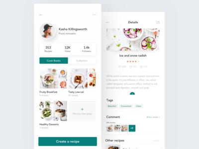 Recipe App Design - Profile & Recipe