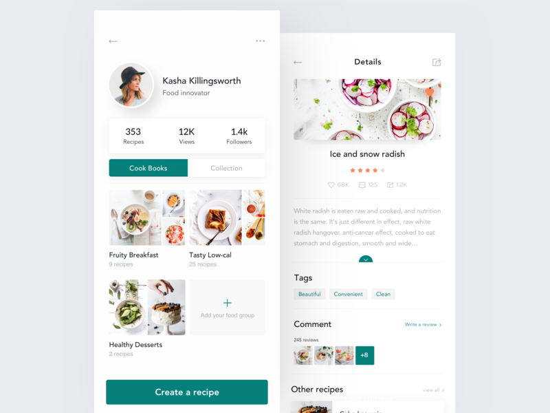 Recipe App Design - Profile & Recipe recipes profile food cookbook typography queble clean color app design ux ui