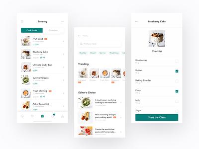 Recipe App Design - Cookbook & Discovery icon recipe app cookbook typography interface queble clean branding color app design ux ui