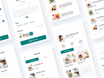 Recipe App Design - Combination recipe app cooking app cookbook recipe icon typography interface queble branding clean app design ux ui