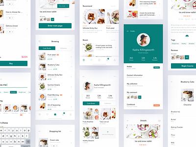 Recipe App Design - Milestone Checkpoint social profile cookbook recipe app cooking app cooking interface queble clean branding app design ux ui