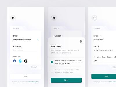 Recipe App Design - Sign In & Sign Up log in sign up sign in interface design recipe app cooking app interface queble clean app design ux ui