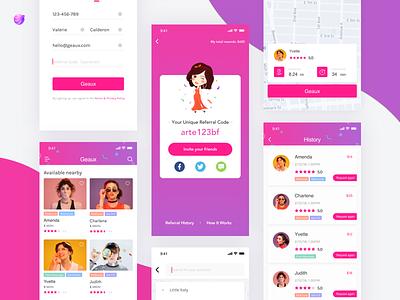 Geaux—Nail Artists At Your Fingertips app design nail artist interface color queble app design ux ui