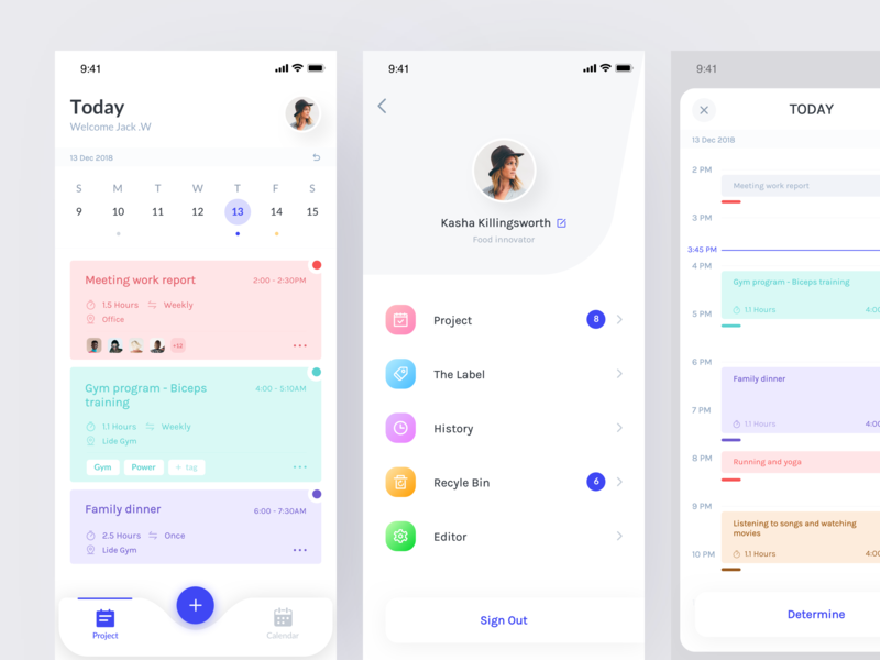 Schedule Application date schedule project card interface clean color app design ux ui