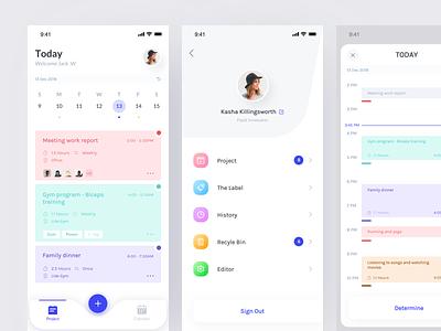 Schedule Application date schedule project card interface clean color app design ux ui