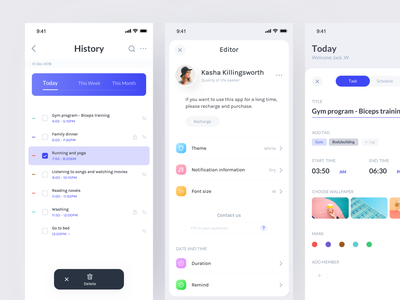 Schedule Application project date setting schedule card interface clean color app design ux ui