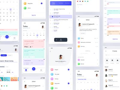 Schedule Application schedule date project card interface clean color app design ux ui