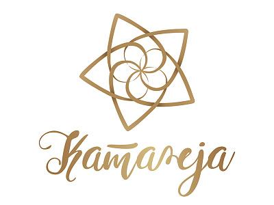 Wedding designer logo orchid golden geometric heart flower wedding logo