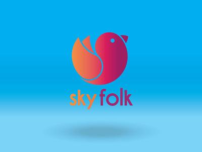 Skyfolk logo logo geometric bird