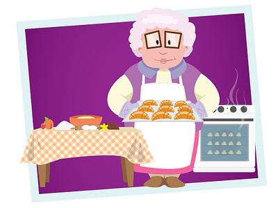 Grandma baking croissants croissants baking grandma 2d illustration vector artwork illustation