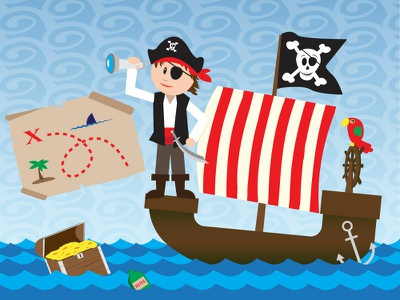 Pirate Boy illustration treasure map pirate ship pirate character vector 2d illustration