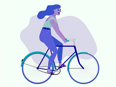 Bikergirl illustrator purple illustration flatdesign bicycle biker