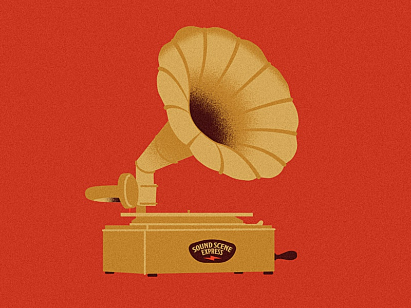 Gramophone vinyl record gigposter music illustration illustrator