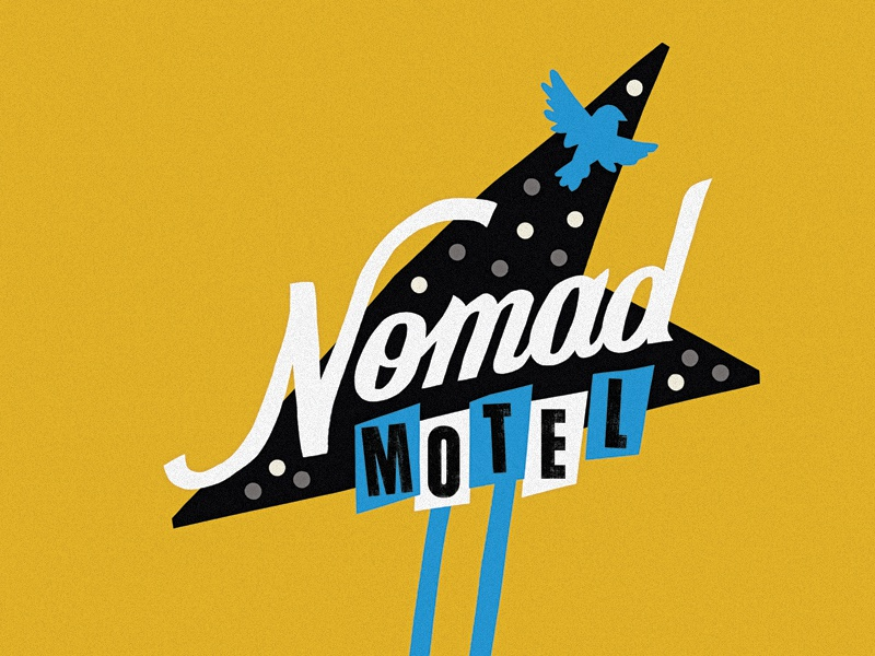 Nomad cut paper theater papercut hotel motel sign illustrator illustration