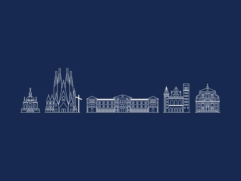 Shrine & Abbey & Chapel & etc building architecture religion church illustration logo