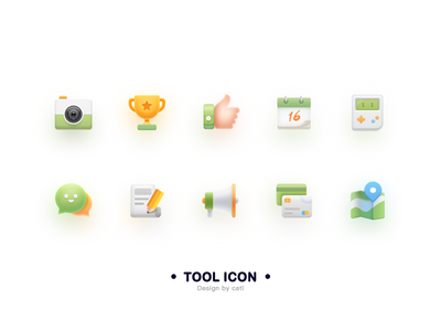 Tool icons yellow green notepad game credit card news map trophy camera ui logo icon