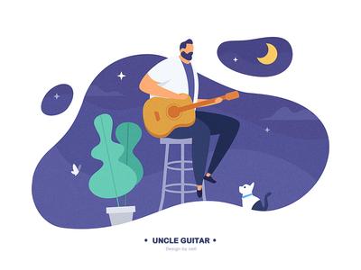 Lllustration design - Uncle guitar composition typesetting moon violet dribbble butterfly sing music nigh botan scener cat guitar man ux design logo ui icon illustration