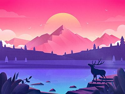 Illustration-Forest lake vector cloud stone forest logo ux bird mountain lake botany deer sunlight tree scenery colour dribbble design ui illustration icon