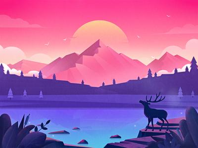 Illustration-Forest lake