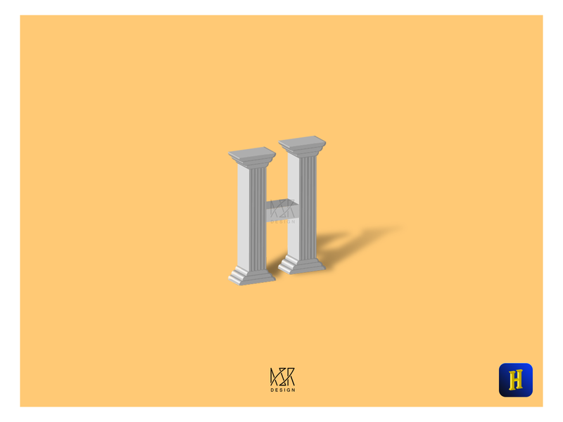 36Types - Letter- H (ASR Design) 3d art asrdesign asrahimdesign hand lettering home 36type minimal flat icon typography ux vector branding ui logo
