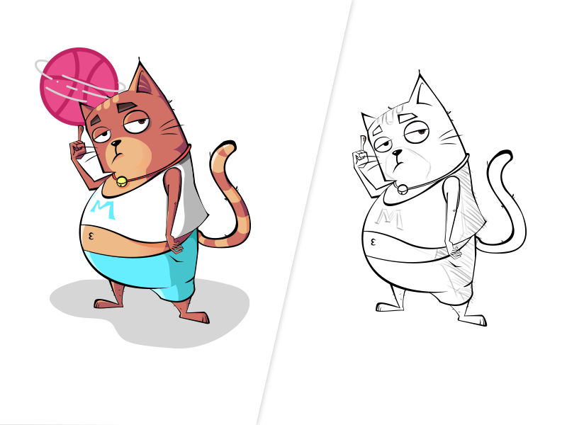 cat dribbble hello