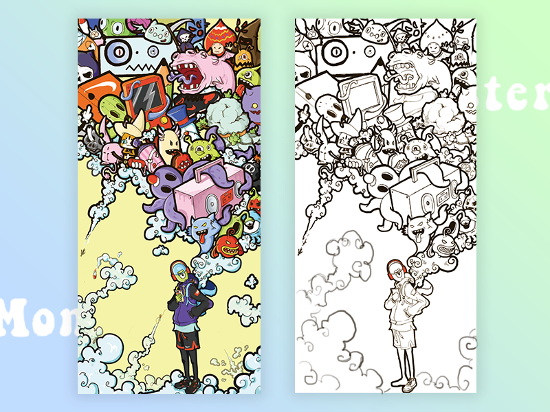 Strange idea of the monster Boy whimsy illustration monster