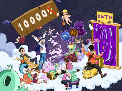 10000 fans illustration fans girl boy illustration