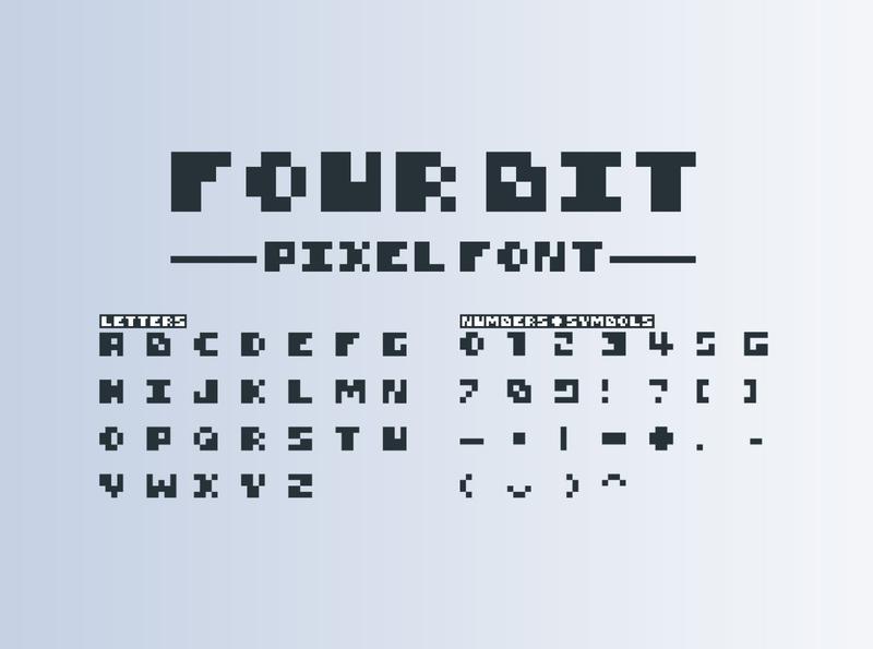 4Bit Pixel Font digital retro gaming video game bit 4bit pixel