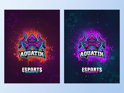 Poster Design For Aquatik Esports sports branding nerd gamer gaming splatter water underwater poster design graphic design poster esport