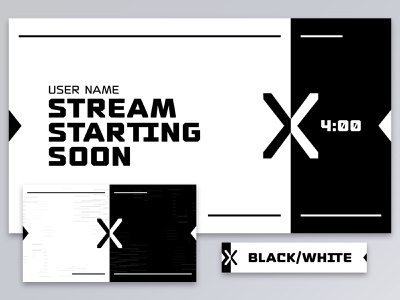 X Factor negative graphic design shape simple geometic vector ui digital abstract split x ying yang yingyang theme identity brand youtube twitch stream black white