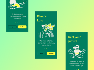 🌿 Onboarding for Plant Based Delivery Startup | GreenVault ux food food delivery plant onboarding ui onboarding mobile design mobile app mobile ui app ui bangalore ui brand design ui ux branding