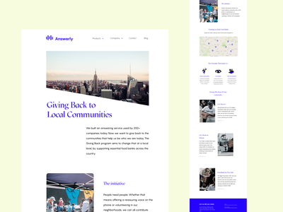 Answerly Giving Back Landing Page bengaluru bangalore website design branding and identity website ui ux design saas web design saas landing page landingpage webdesign saas website saas ux ui