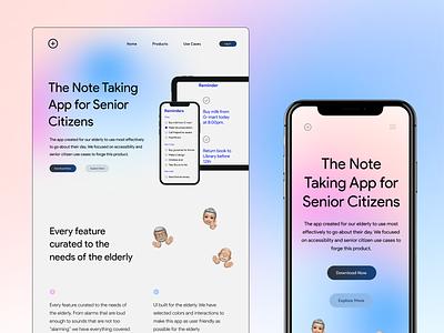 Note Taking App for Senior Citizens typography typo minimal aurora backgrounds note app ui brand design branding aurora website mobile site app note taking app ui ux ux