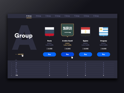 Ethernal Cup Web - List of teams diseño uba crypto currency ethereum dapp web design user interface design user experience design design diseño gráfico graphic design