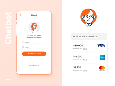 Melani - Online Banking Chatbot - Login adobe illustrator user interface design user experience design online banking chatbot app concept diseño web web design uba design diseño gráfico graphic design